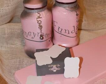 Honeymoon Funds Jar, Pink Jar, Honeymoon Ideas, Money Bank, Wedding Jar, Bridal Shower Gift, Anniversary Gift, Money Jar, Wooden Notes Chest