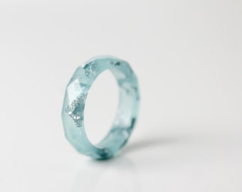 ice blue and silver size 5.5 thin multifaceted eco resin ring