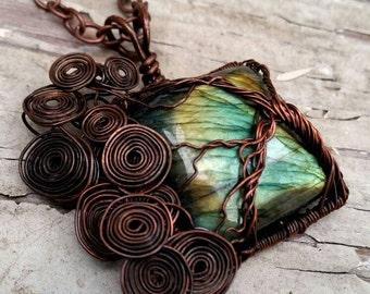 Labradorite tree of life - boho jewelry- hippie fashion- good vibes- free spirit- gypsy trend