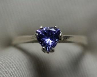 Tanzanite Ring, 0.68 Carat Genuine Tanzanite Solitaire Ring Appraised At 374.00, Sterling Silver, Genuine Tanzanite Trillion Cut, Certified