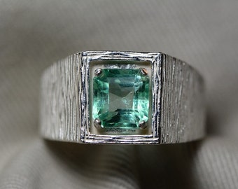 Mens Emerald Ring 1.80 Carats Appraised at 1,800.00 Wood Grain Style Mans Ring, Sterling Silver, Colombian Emerald Jewelry