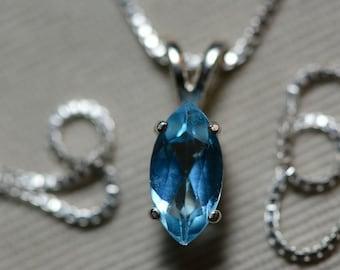 Blue Topaz Necklace, 1.20 Carat Blue Topaz Pendant, Sterling Silver, Marquise Cut, December Birthstone