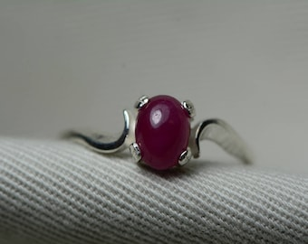 Ruby Ring, Red Ruby Cabochon Ring 1.41 Carat Appraised at 625.00, July Birthstone, Real Ruby Jewelry, Sterling Silver Size 7, Certified