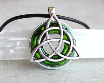 green triquetra necklace, mens necklace, mens jewelry, irish jewelry, unique gift, celtic necklace, celtic jewelry, triquetra jewelry