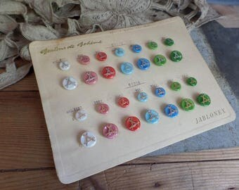 Vintage French glass buttons on a cardboard  Salesman sample Bohemia glass