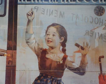 Vintage Large Cardboad poster   Old french advertising for chocolate MENIER  Little girl