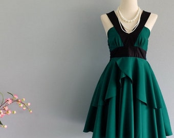 Clearance SALE Roses Petal - Summer's Whisper Collection Sexy Party Dress Black Neck Pine Green Dress Prom Party Wedding Cocktail Bridesmaid