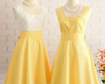 Yellow Dress Yellow Plaid Dress Yellow Party Dress Yellow Sundress Yellow Bridesmaid Dresses Yellow Vintage Dress Style Scoop Neck Dress