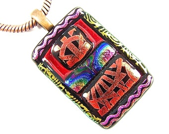 "Dichroic Pendant - Red Orange Gold Pink Rainbow Squares Patterned Dichro Waves Swirls Triangles Stripes - 1.5"" 37mm Stained Glass Framed"