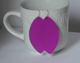 Magenta Dark Hot Pink Marquis Petal Teardrop Drop Earrings