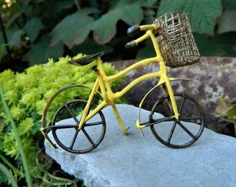 Miniature Bicycle-Yellow Bike for fairy garden-accessories for terrarium or fairy garden-Miniature bike