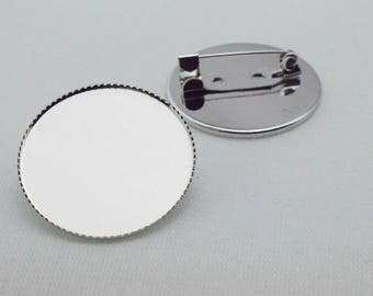 10pcs 25mm Pad White K silver tone Brass Round Cameo Cabochon Base Setting Brooch Back With  Pin Back  C8469