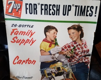 Vintage 1953 7-Up Advertising Sign