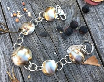 Sterling silver bracelet, sterling disk bracelet, Sterling chain and link bracelet,metalsmith bracelet, sterling stacking bracelet,
