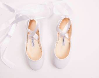 The White Wedding Shoes with Satin Ribbons | Bridal Flat Shoes | Pointe Style Lace Up Ballet Flats | Wedding Ballet Flats in White Bolshoy