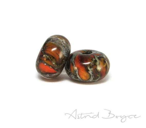Ignition Spacers Flame Beads Artisan Lampwork inspired by Pantone Color 2017 Flame - for Creating Minimalist Fashion and Unique Gift for Mom