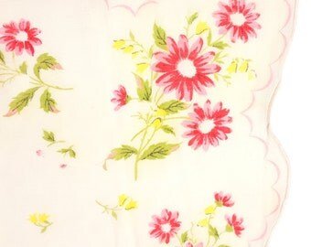 Women's Summer Hanky with Red, Pink and Yellow Flowers on White, Scalloped Edge, Floral Handkerchief, Mother's Day Gift Idea, Gift for Mom