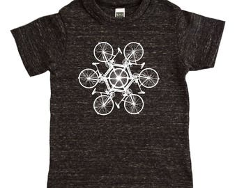 Circle of Bikes Kids Shirt - Tri Blend Unisex Boys or Girls Hipster Bicycle Graphic Tee