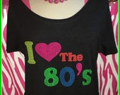 I heart the 80s t shirt slouchy wide neck off shoulder style tee love the 80s shirt 80s party 80s theme 80s night off 80s off shoulder