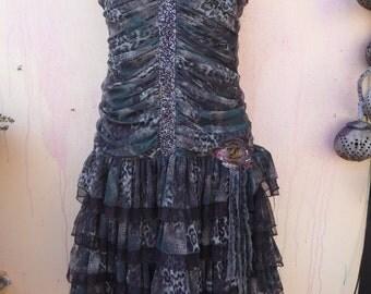 20%OFF bohemian dress, boho dress, ruffled dress, rara dress, medium dress, gothis dress, bohemian gothic dress, leopard dress, wedding