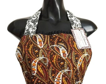 Earth Mother Vintage Paisley Corduroy/Black n White Floral Reversible Suede Pocketed Apron FREE OZ POST
