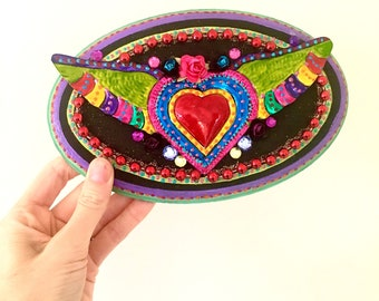 Tin heart with wings ornament from mexico mounted in decorated wooden block/ folk art/ mexican inspired art