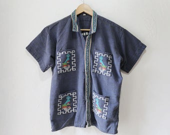 Guatemalan Cotton T Shirt, Button Front