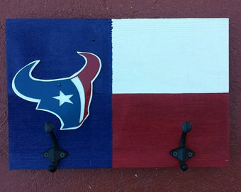 Free shipping!  A Texas Map Style with a Houston  Texans logo for Coats, keys or caps holder with two hooks