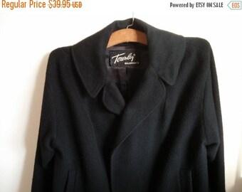Vintage Black Imported Cashmere Jacket Women Open Swing Outerwear Townley