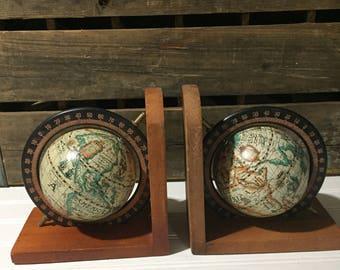 Vintage wooden globe world map atlas Office School Bookends