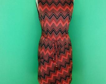Anthropologie Muse Dress Chevron Grey Black Russet Orange Sheath Mini Size 6
