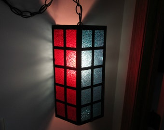 Vintage Stained Glass Lucite Modern Design Swag Light - Black Metal with Blue & Red Panels Six Sided Swag Lamp - 60s UNIQUE Mood Lighting