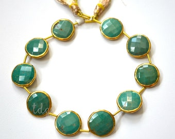 Green Turquoise Rimmed Beads, Turquoise Beads, Gold Bezeled Turquoise Beads, Gold Vermeil Bezeled Beads 16mm