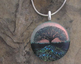 Sunset Tree of Life Necklace Dichroic Glass Tree Roots Pendant
