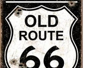 Vintage Style Tin Sign, Historic old route 66, man cave, USA, garage decor, wall hanging, route 66