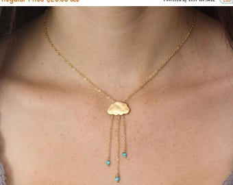 20% off. Rain cloud necklace  English Rain. Gold cloud necklace.  Turquoise rain necklace with tiny turquoise beads