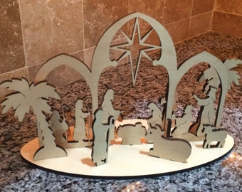 Personalized Wooden Nativity Silhouette