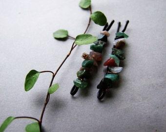 Indian Agate Bobby Pins, Bohemian, Woodland Hair Pin, Forest Hair Clips, Woodland Agate Bobby Pins Set