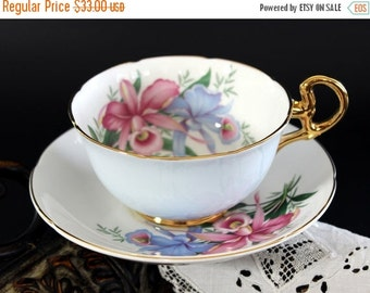 Royal Grafton, Tea Cup, Teacup and Saucer, Pink Orchids, Vintage Bone China 13225