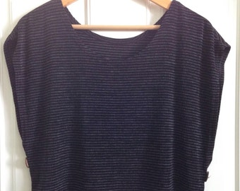 Womens early 90's black and charcoal grey striped slinky crop top with button sides size Small to size Medium