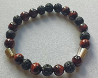 Mens  Lava Stone, Mother of Pearl & Red Tigers Eye  Mala Handmade Bracelet ,grounding,abundance, power, chakra,reiki,yoga,gift for him,stack