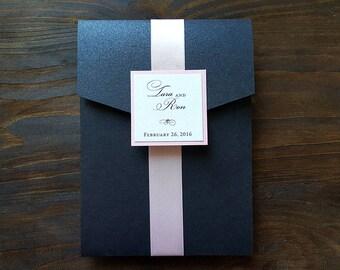 Elegant Wedding Invitation - Pocket Wedding Invitation - Pink and Black Wedding Invitation - Swirl Wedding Invitation - Style W-55