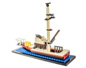Orca V2 Custom LEGO Piece Set - Boat Model with Display Stand