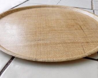 1950s Large TIKI rafia plastic coated tray / hostess / mid century /