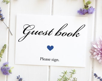 Guest Book Sign, Classic Wedding Script Elegant Table Decoration - Size 5 x 7 Inches, Printed Sign, BICK
