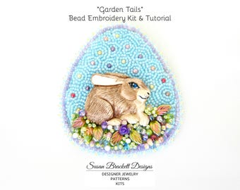 Garden Tails Beaded Brooch Kit & Tutorial by Susan Brackett, DIY Beading Chart Instructions Easy Pattern, Bead Embroidery