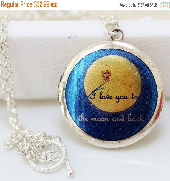 ON SALE Silver Locket,Owl Blue Locket,Necklace,Pendant,Jewelry,Silver Bridesmaid Necklace,Wedding Necklace,I love you to the moon and back