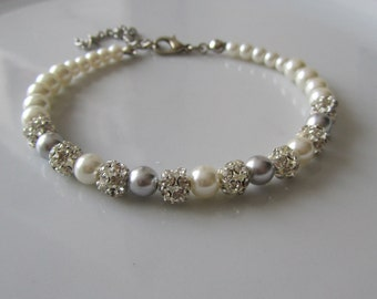Ivory pearl bracelet with rhinestones and grey beads - Bridal bracelet - Bridesmaid bracelet - Bridal under 25