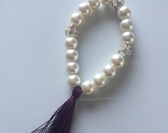 Ivory pearl bracelets with purple silky tassel and crystal rhinestone balls, tassel bracelet, tassel bridal, purple tassel bracelet