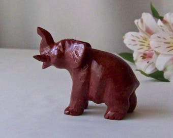 Vintage Baby Elephant Hand Carved Cinnabar Elephant Figurine Elephant Trunk Up Good Luck Elephant Statue Vintage 1980s
